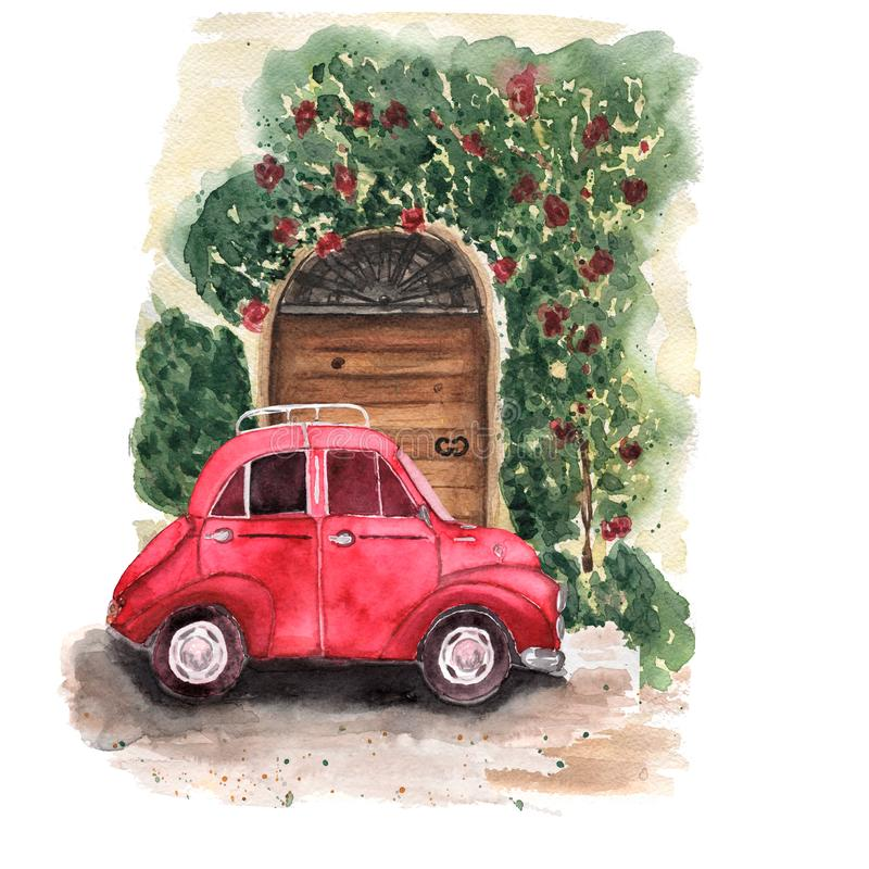 La composición de un coche rojo se parquea cerca de la puerta marrón de madera con libre illustration