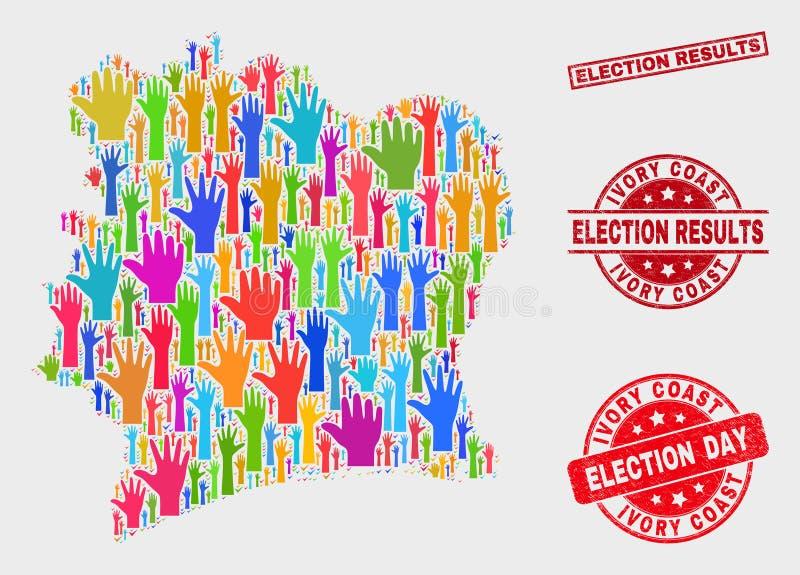 La composición del mapa electoral de Costa de Marfil y los resultados de elección de la desolación sellan el sello stock de ilustración