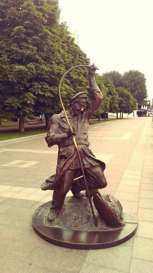 La composición escultural del pone el terraplén del pescador de Rostov-On-Don fotos de archivo libres de regalías