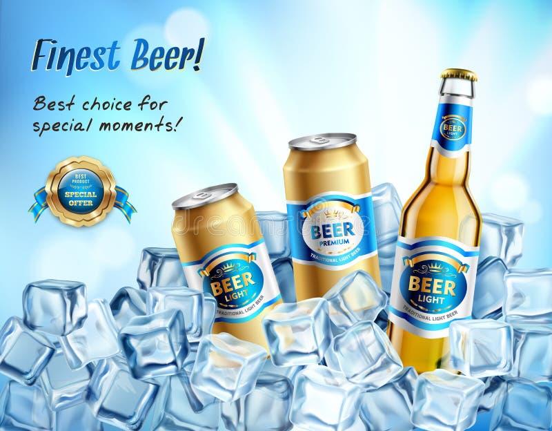 La composición más fina de la cerveza stock de ilustración
