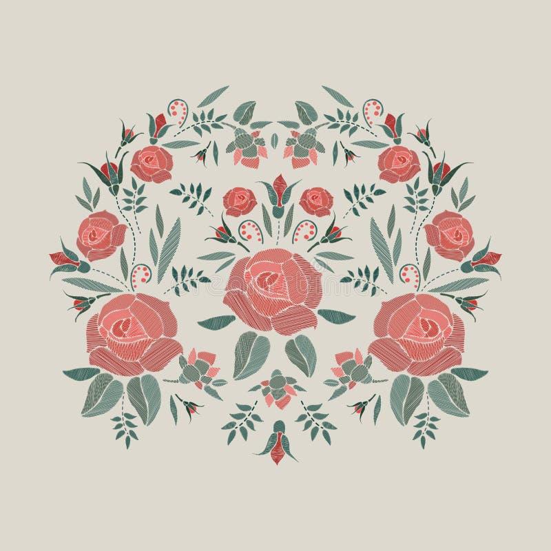La composition brodée avec des roses fleurit, bourgeonne et part Conception florale de broderie de point de satin sur le fond bei illustration stock