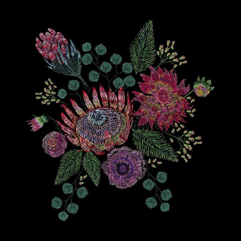 La composition brodée avec sauvage et le jardin fleurit, bourgeonne et part Conception florale de broderie de point de satin sur  illustration de vecteur