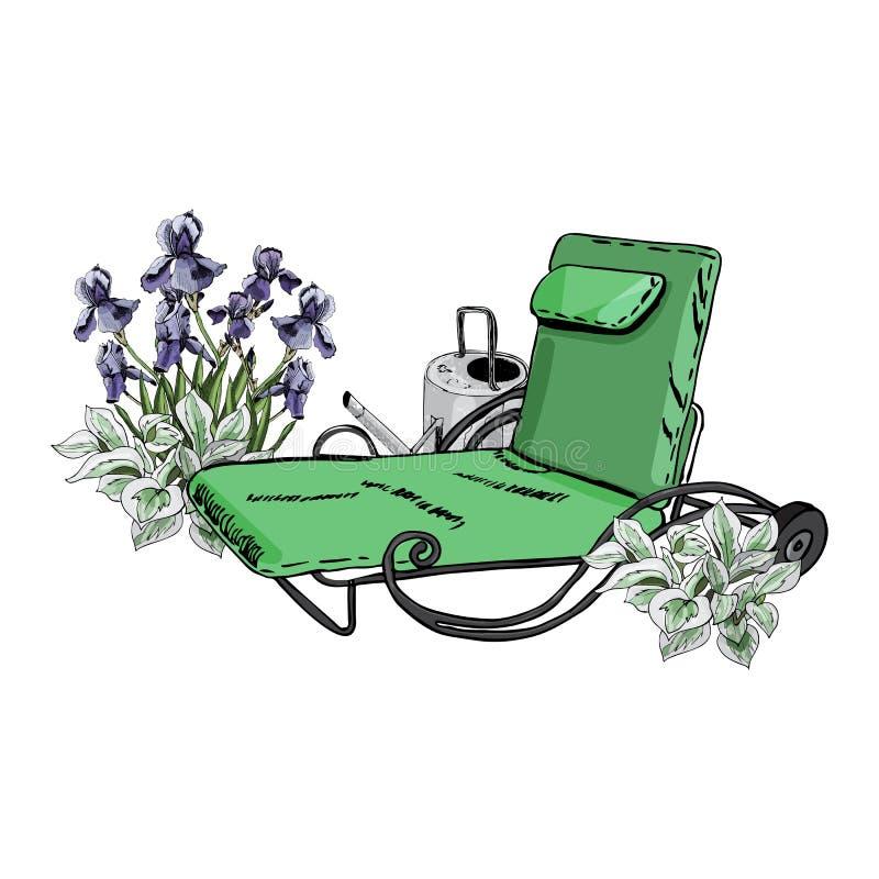 La composition décorative avec le canapé, la boîte d'arrosage, l'iris et le hosta verts fleurit illustration stock