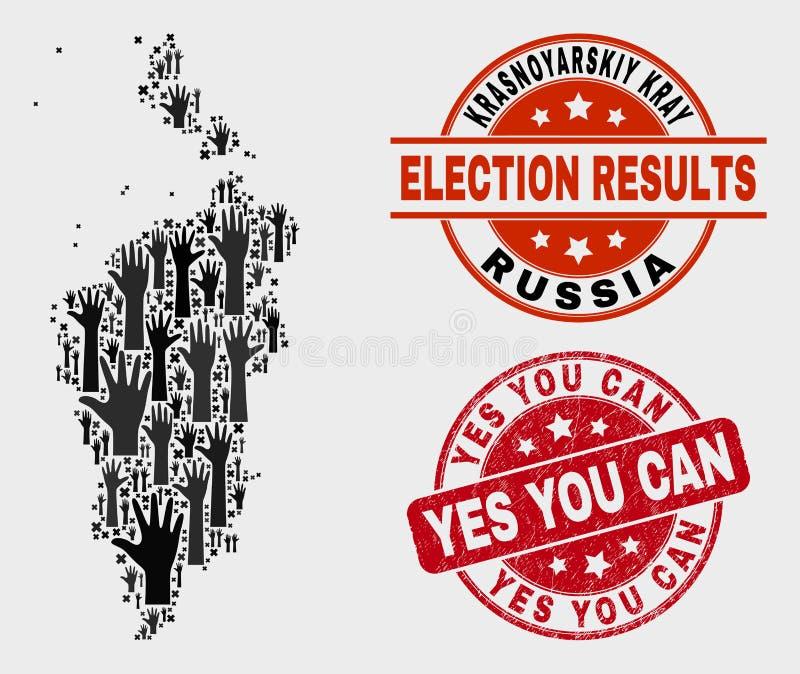 La composition de la carte de Krasnoyarskiy Kray de vote et vous a rayé oui peut emboutir illustration stock