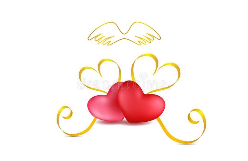 La composition de fête en jour de valentines avec deux rouges, a monté des coeurs avec la rayure d'or et des fleurs rouges de pét illustration libre de droits