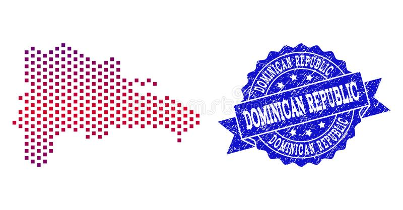 La composition de Gradiented a pointillé la carte de la République Dominicaine et du timbre de Grunged illustration de vecteur