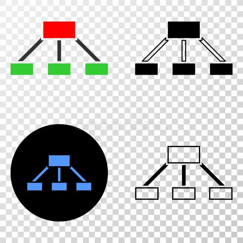 La composition de Gradiented a pointillé les liens de hiérarchie et le timbre de Grunged illustration stock