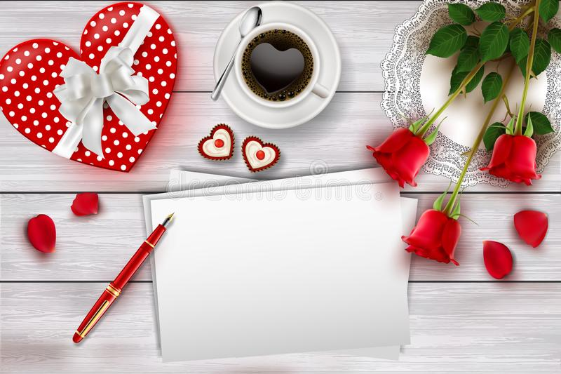 La composition en jour du ` s de Valentine sur la table en bois avec la forme de coeur objecte et les roses rouges illustration de vecteur