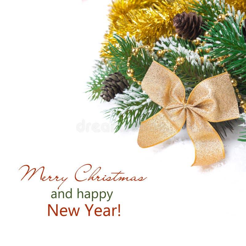 La composition en Noël avec le sapin s'embranche, cône de pin, décorations photo stock