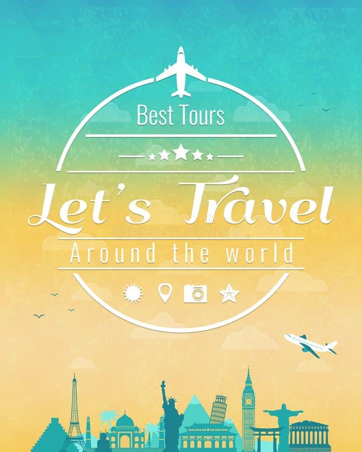 La composition en voyage avec les points de repère célèbres du monde et le vintage badge Voyage et tourisme abrégez le fond Vecte illustration de vecteur