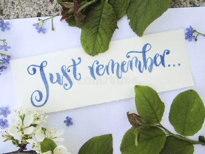 La composition plate en configuration avec la calligraphie de juste se rappellent dans le bleu sur le livre blanc photos libres de droits