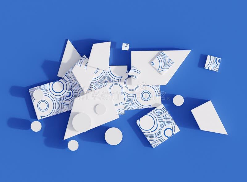 La composizione astratta delle forme geometriche 3d con il modello del cerchio blu e bianco, 3d rende illustrazione di stock