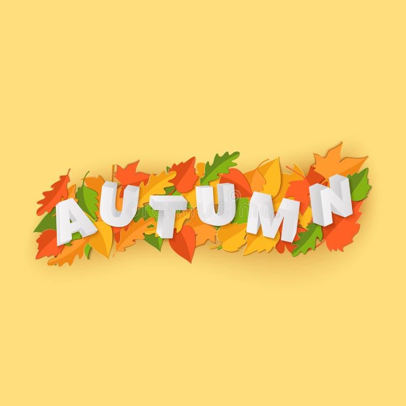 La composizione in AUTUNNO di parola con le foglie gialle verdi di rosso su fondo giallo in carta ha tagliato lo stile Foglia 3d  illustrazione di stock