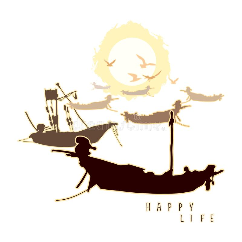 La composizione con le barche ed il volo gulls contro il contesto del sole illustrazione di stock