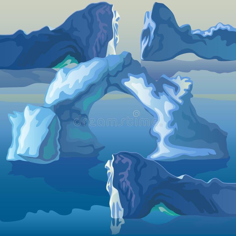 La composizione del mare degli iceberg e del ghiaccio incurva Illustrazione di vettore royalty illustrazione gratis