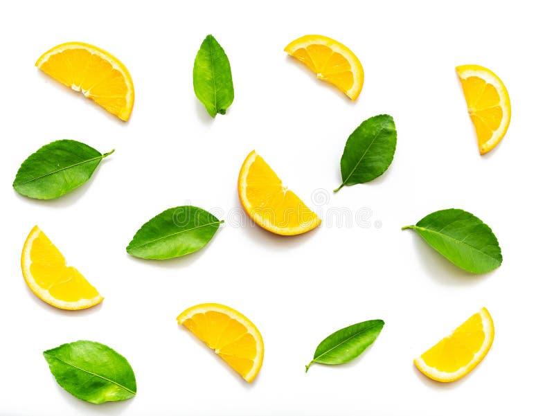 La composizione delle fette arancio fruttifica con le foglie verdi isolate immagini stock