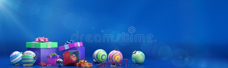 La composizione nel buon anno con colore gioca la decorazione e la scatola di magia illustrazione di stock
