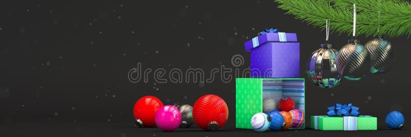 La composizione nel buon anno con colore gioca la decorazione e la scatola di magia fotografia stock libera da diritti