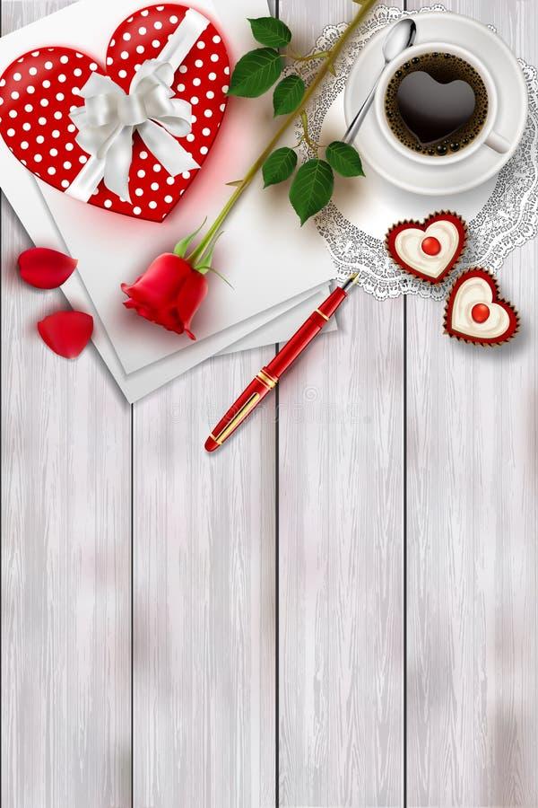 La composizione nel giorno del ` s del biglietto di S. Valentino sulla tavola di legno con forma del cuore obietta e rosa rossa illustrazione vettoriale