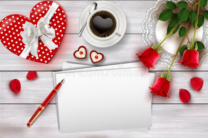 La composizione nel giorno del ` s del biglietto di S. Valentino sulla tavola di legno con forma del cuore obietta e rose rosse illustrazione vettoriale