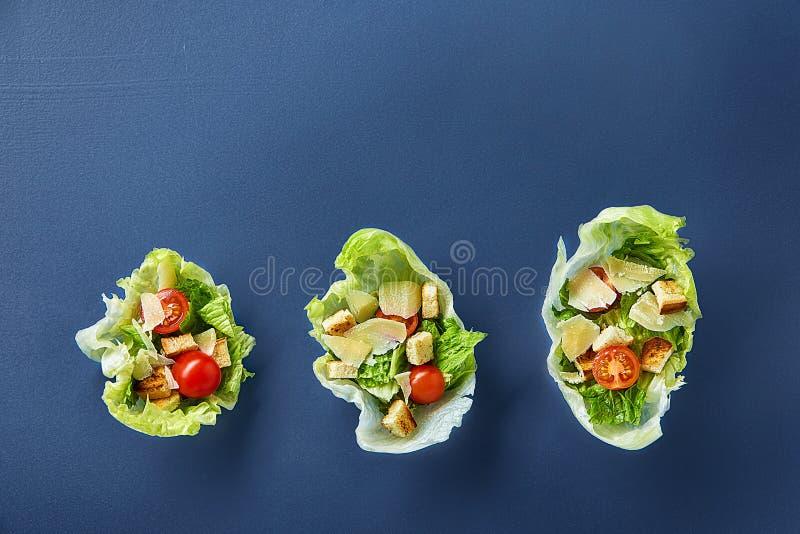 La composizione squisita di vista superiore di insalata sana fresca è servito in foglie della lattuga su fondo scuro immagine stock libera da diritti