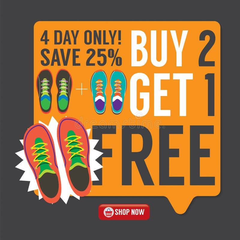 La compra 2 consigue 1 campaña de promoción libre de las zapatillas de deporte libre illustration