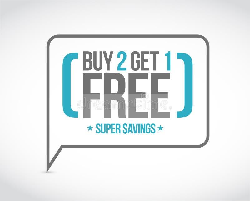la compra 2 consigue 1 concepto libre del mensaje de la venta imagenes de archivo