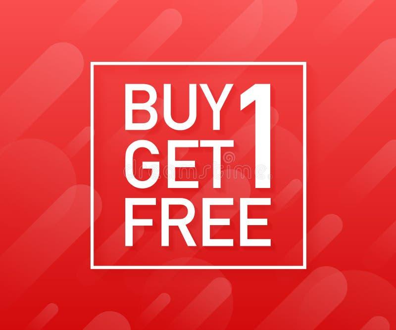 La compra 1 consigue 1 libre, etiqueta de la venta, plantilla del diseño de la bandera Ilustración del vector libre illustration