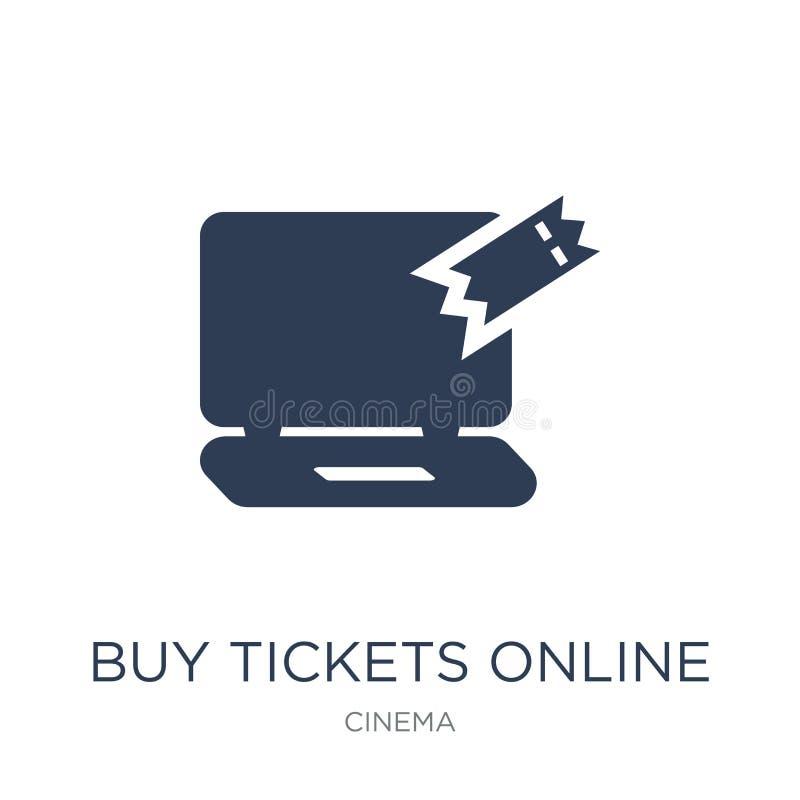 La compra marca el icono en línea Boletos planos de moda i en línea de la compra del vector libre illustration