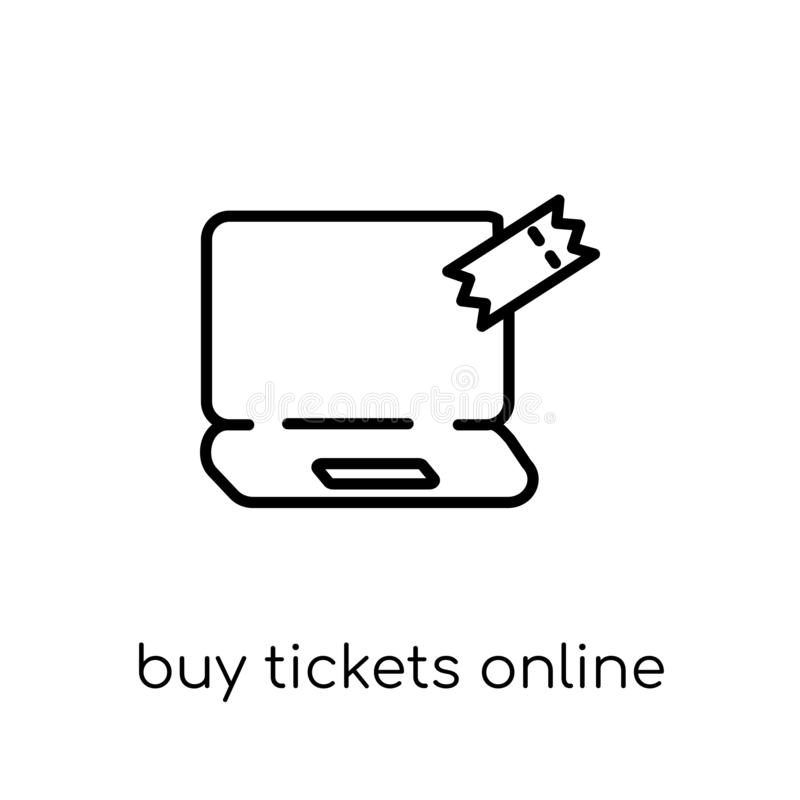 La compra marca el icono en línea Ti linear plano moderno de moda de la compra del vector ilustración del vector