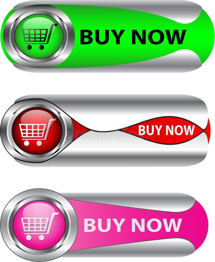 La compra metálica ahora abotona el conjunto ilustración del vector