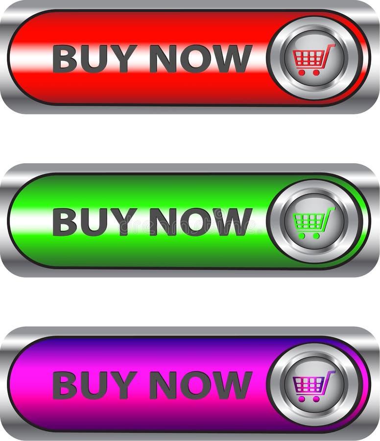 La compra metálica ahora abotona el conjunto stock de ilustración