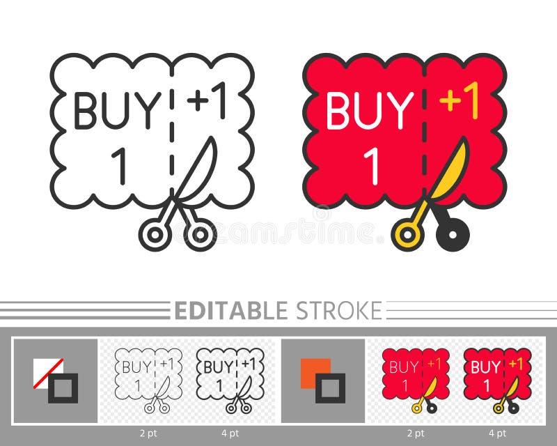 La compra una de la cupón consigue una línea editable icono del movimiento libre illustration