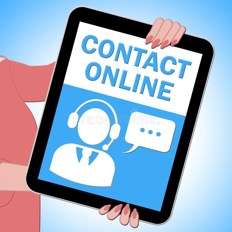 La compressa online del contatto significa l'illustrazione di servizio di assistenza al cliente 3d illustrazione vettoriale