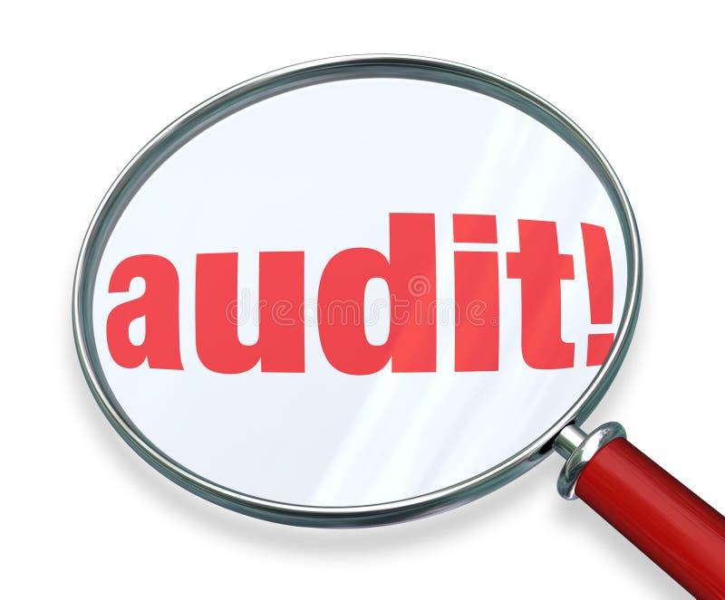 La comptabilité de comptabilité d'impôts de loupe de Word d'audit ordonne la loi illustration libre de droits