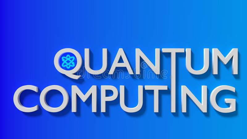 La computación de quántum blanca de la palabra en una pared azul de la pendiente con libre illustration