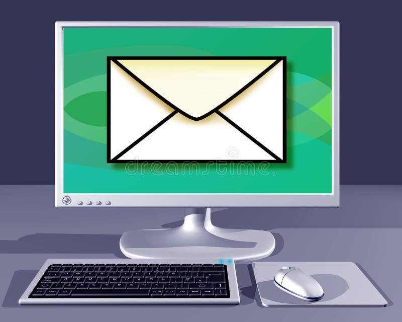 La computadora de escritorio que le muestra tiene correo ilustración del vector