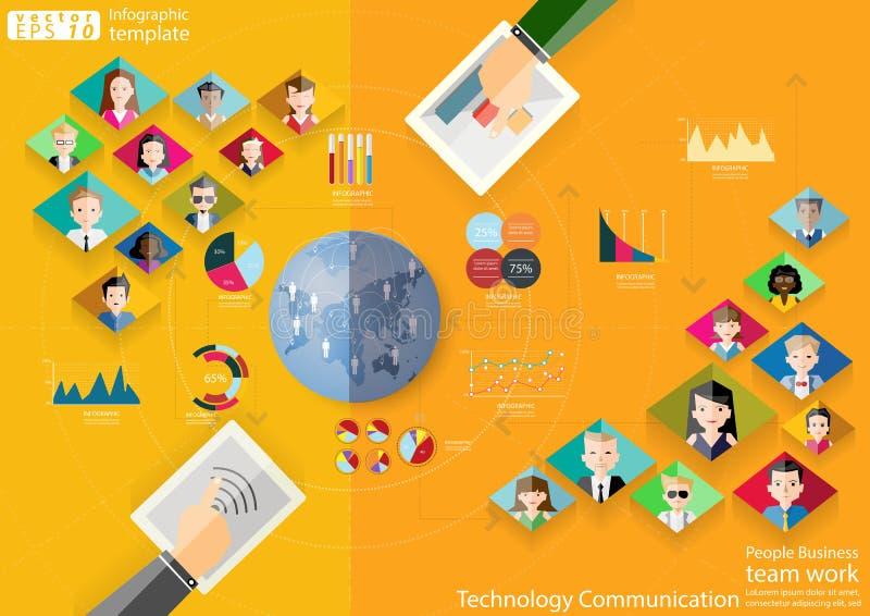 La comunicación de la tecnología del trabajo del equipo del negocio de la gente a través de la idea moderna del mundo y el concep libre illustration
