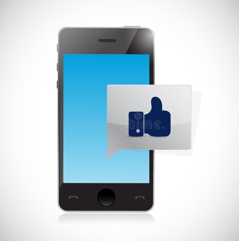 la comunicación del teléfono le gusta el mensaje del pulgar libre illustration