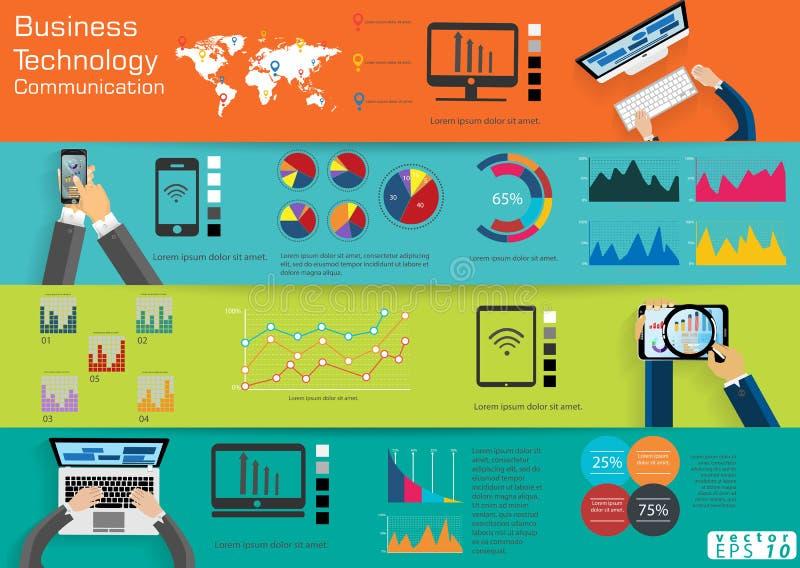 La comunicación empresarial de la tecnología del ordenador portátil del ordenador a través de la idea moderna del mundo y el conc ilustración del vector