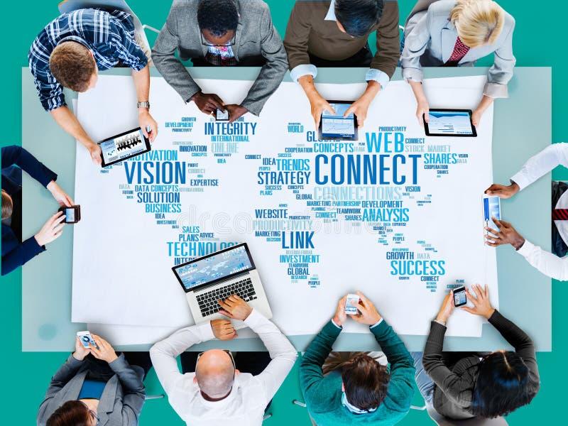 La comunicación global conecta concepto mundial de la parte del vínculo imagen de archivo libre de regalías