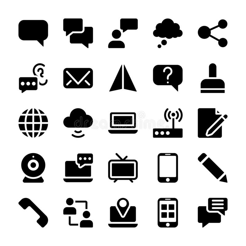 La comunicación llenó iconos embala libre illustration