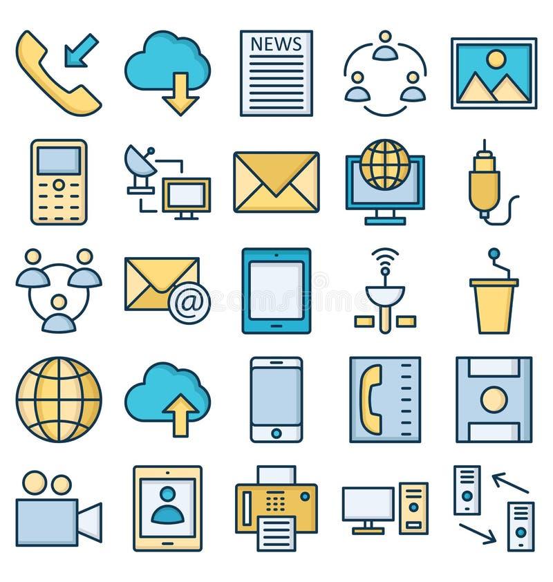 La comunicaci?n y los dispositivos de Digitaces aislaron el sistema de los iconos del vector que puede ser modificado o corregir  stock de ilustración