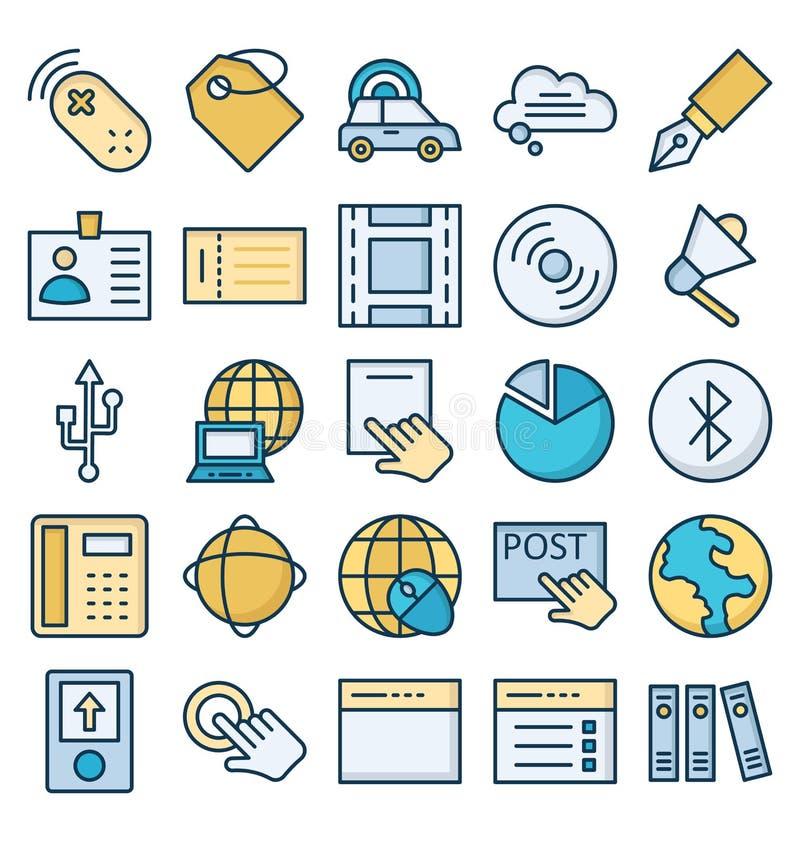 La comunicaci?n y los dispositivos de Digitaces aislaron el sistema de los iconos del vector que puede ser modificado o corregir  ilustración del vector