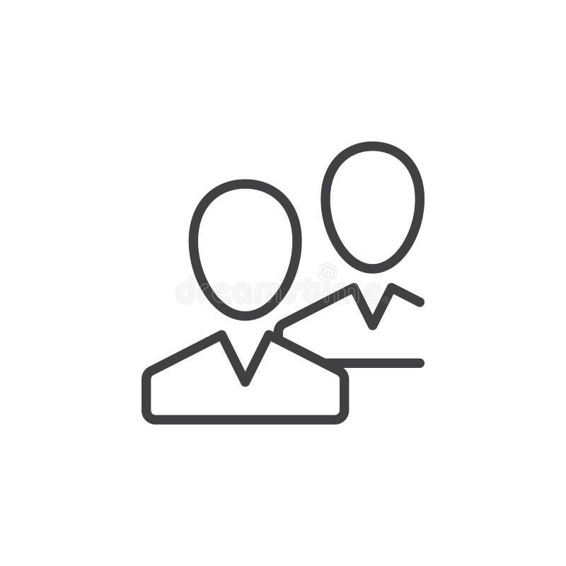La comunidad, usuarios, amigos alinea el icono, muestra del vector del esquema, pictograma linear del estilo aislado en blanco libre illustration