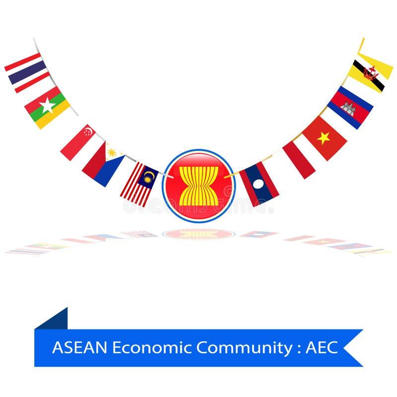 La comunità economica del Asean, CEA inbandiera il vettore illustrazione vettoriale