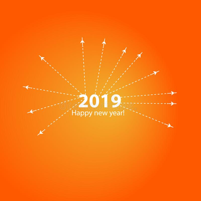 La conception créative de la bonne année 2019 avec la barre de chargement de progrès avec l'avion est dans une ligne pointillée L illustration de vecteur
