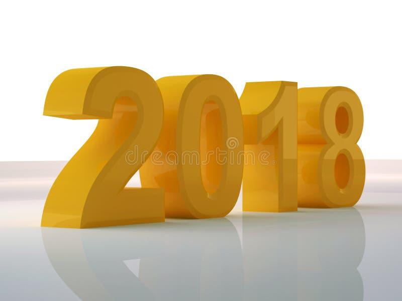 La conception 3d de jaune d'année rendent 2018 image libre de droits