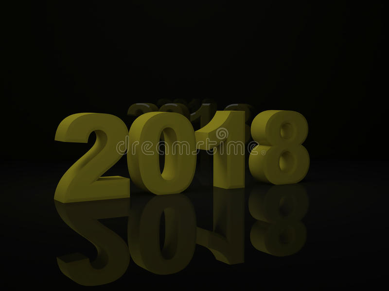 La conception 3d de jaune d'année rendent 2018 photos libres de droits