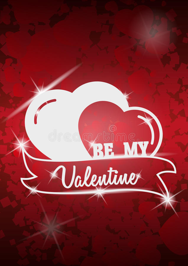 La conception d'insecte de partie de jour de valentines sur le rouge a brouillé le fond Avec des coeurs Calibre de vecteur d'invi illustration libre de droits